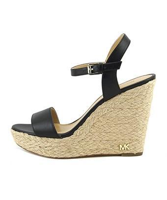 Michael Kors Womens Jill Leather Open Toe Casual Espadrille Sandals In Black