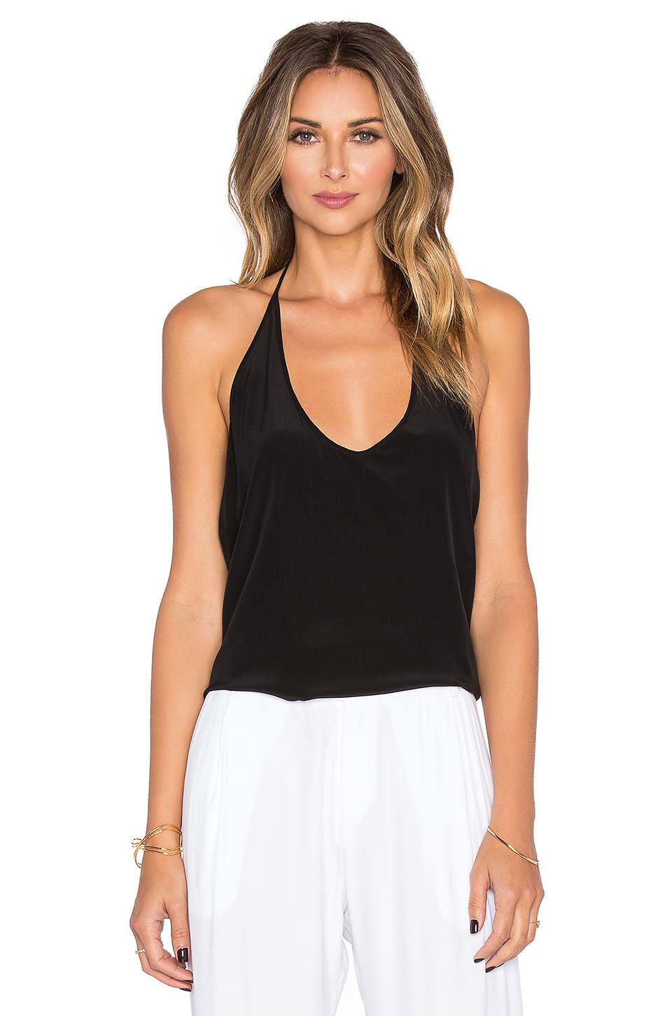 L Agence Mary Jane Washed-silk Camisole In Black