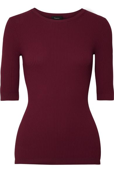 Theory Ribbed Stretch-knit Top In Burgundy