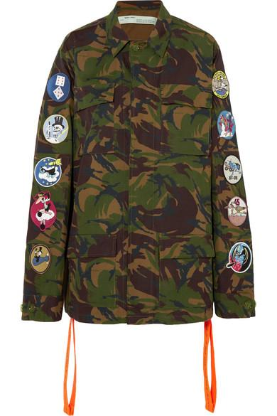 54cda6a17e48 Off-White AppliquÉD Embroidered Camouflage-Print Cotton-Canvas Jacket In  Army Green