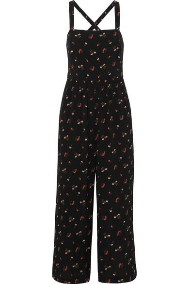 Madewell Flower Toss Smocked Crop Jumpsuit In Black