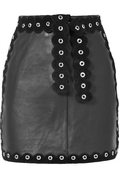 7c4cf6038 Maje Embellished Suede-Trimmed Leather Mini Skirt In Black   ModeSens