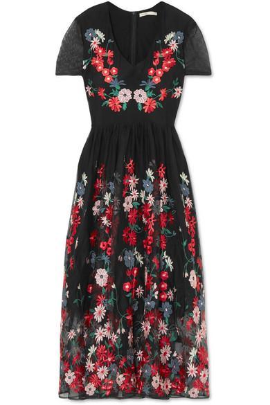 5134debe3e Maje Raphael Floral-Embroidered Tulle Midi Dress In Black
