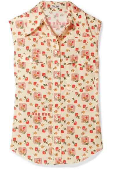 Miu Miu Printed Cotton-Voile Top In Cream