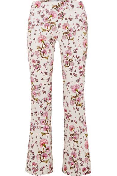 Giambattista Valli Dahlia Floral-print Kick-flare Crepe-cady Trousers In Ivory
