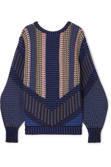 Peter Pilotto Cotton-blend Jacquard Sweater In Navy