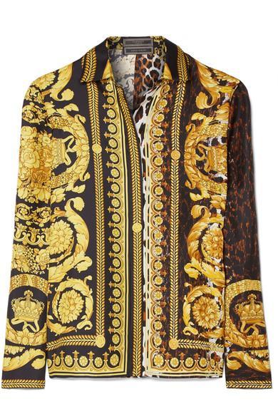 Versace Printed Silk-satin Twill Shirt