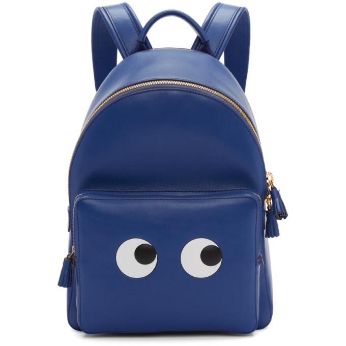 Anya Hindmarch Blue Mini Eyes Backpack In Blueberry