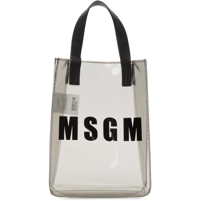 Msgm Grey Mini Vinyl Plastic Shopper Tote