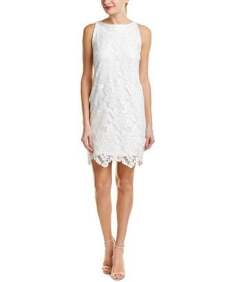 Three Dots Lace Shift Dress In White