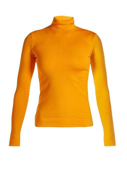 Calvin Klein 205w39nyc Logo-embroidered Roll-neck Jersey Top In Orange