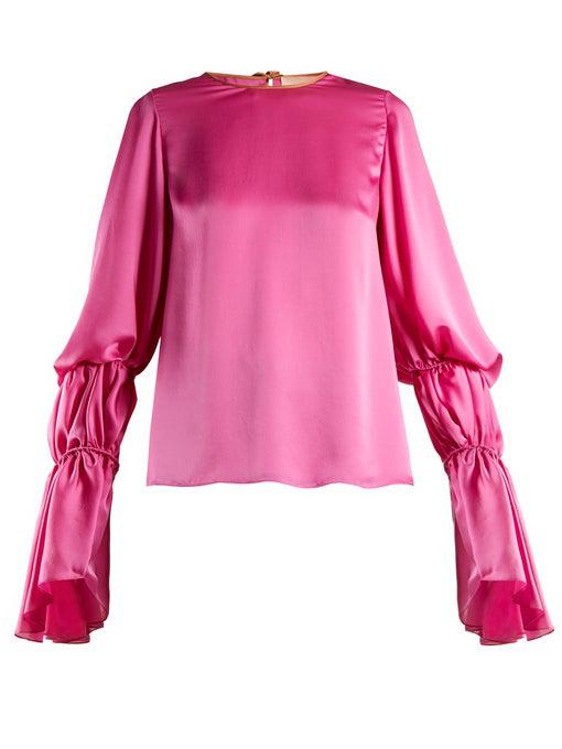 Roksanda Nezu Silk Top With Ruched Sleeves In Pink