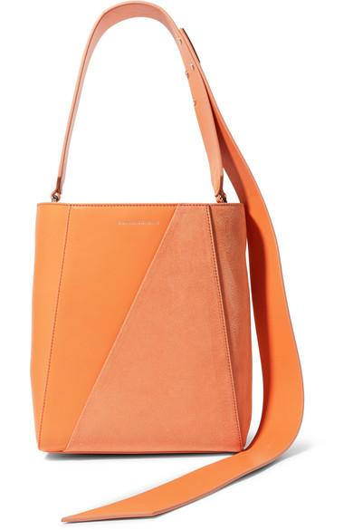 Calvin Klein 205w39nyc Buck Stripe Small Leather And Suede Shoulder Bag In Orange