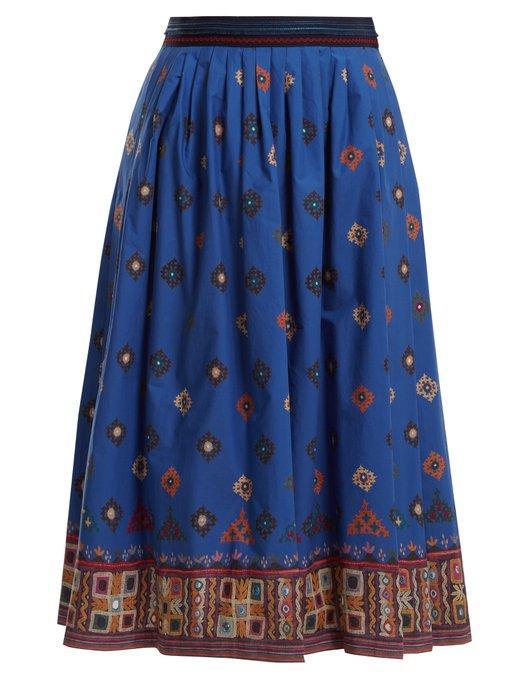 Weekend Max Mara Sassari Skirt In Blue Multi