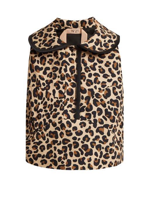 N°21 Leopard-print Cotton-canvas Top