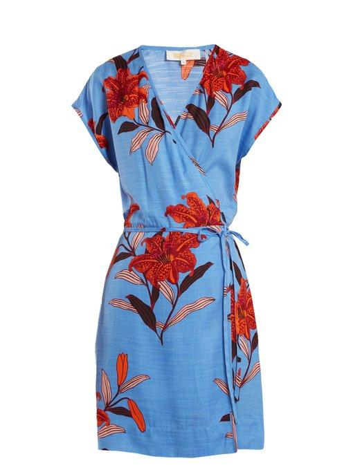 Diane Von Furstenberg Floral-print V-neck Silk-blend Wrap Dress In Blue Print
