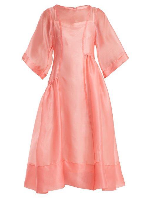 Molly Goddard Laurelai Silk-organza Dress In Neon-pink