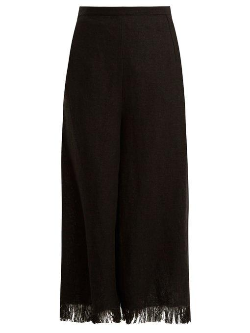 Andrew Gn Wide-leg Frayed-cuff Linen Cropped Trousers In Black