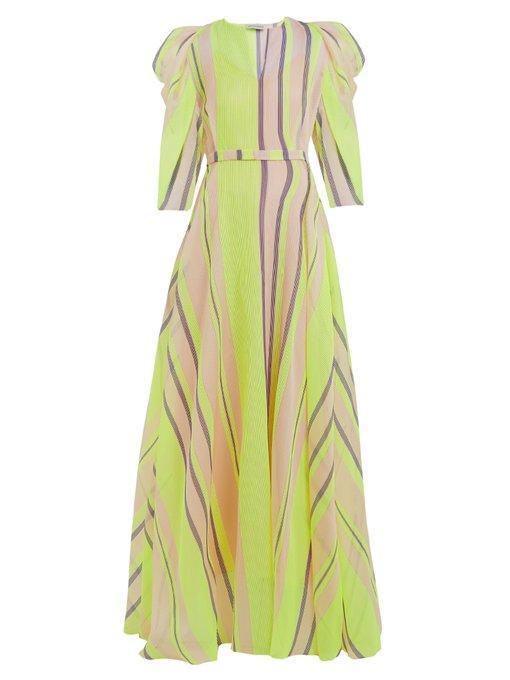 Vika Gazinskaya Puff-sleeved Striped Organza Gown In Neon-yellow