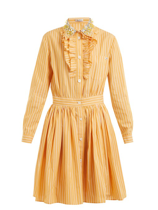 Miu Miu Embellished-collar Striped Cotton Shirtdress In Sunflower-orange