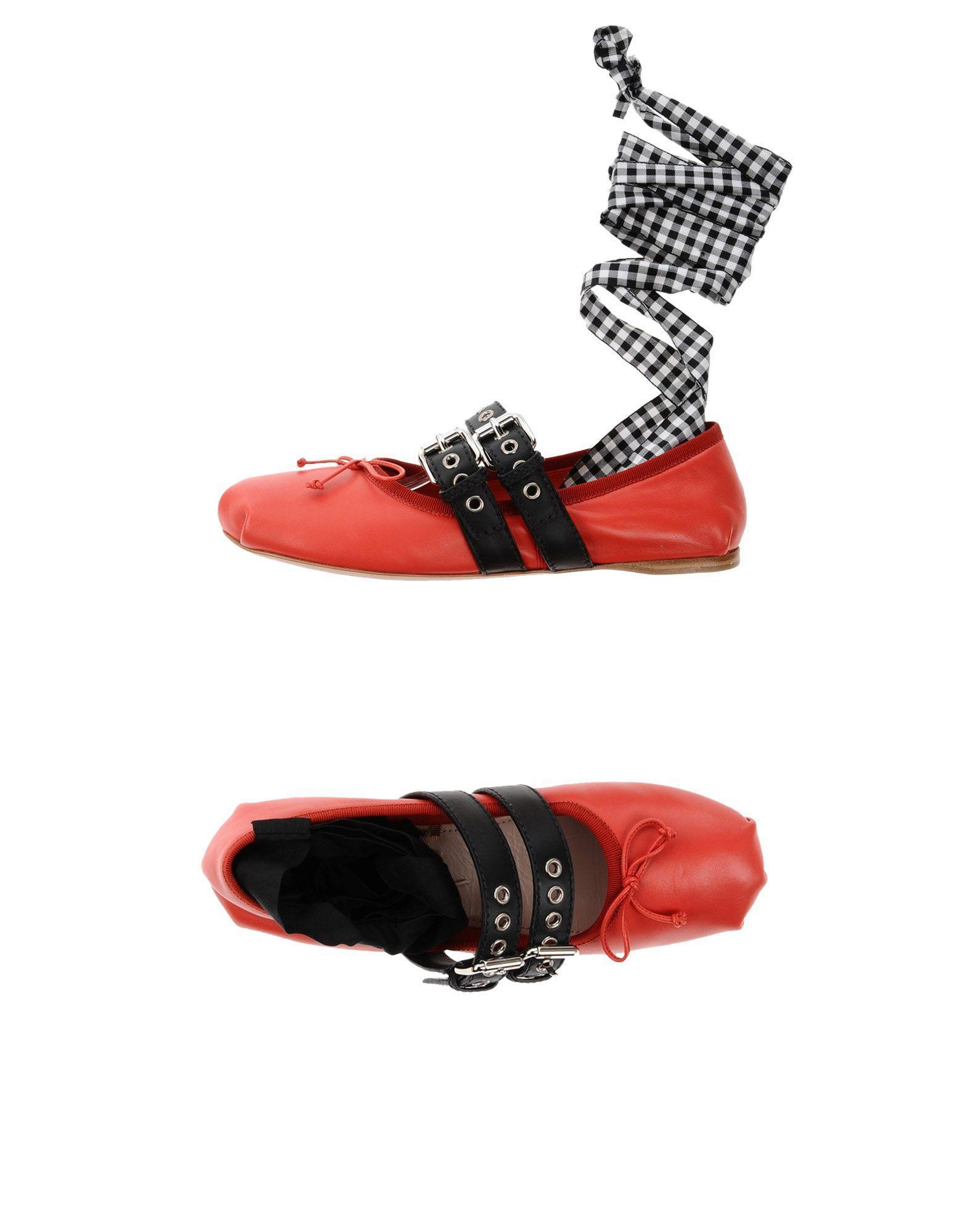Miu Miu Ballet Flats In Red
