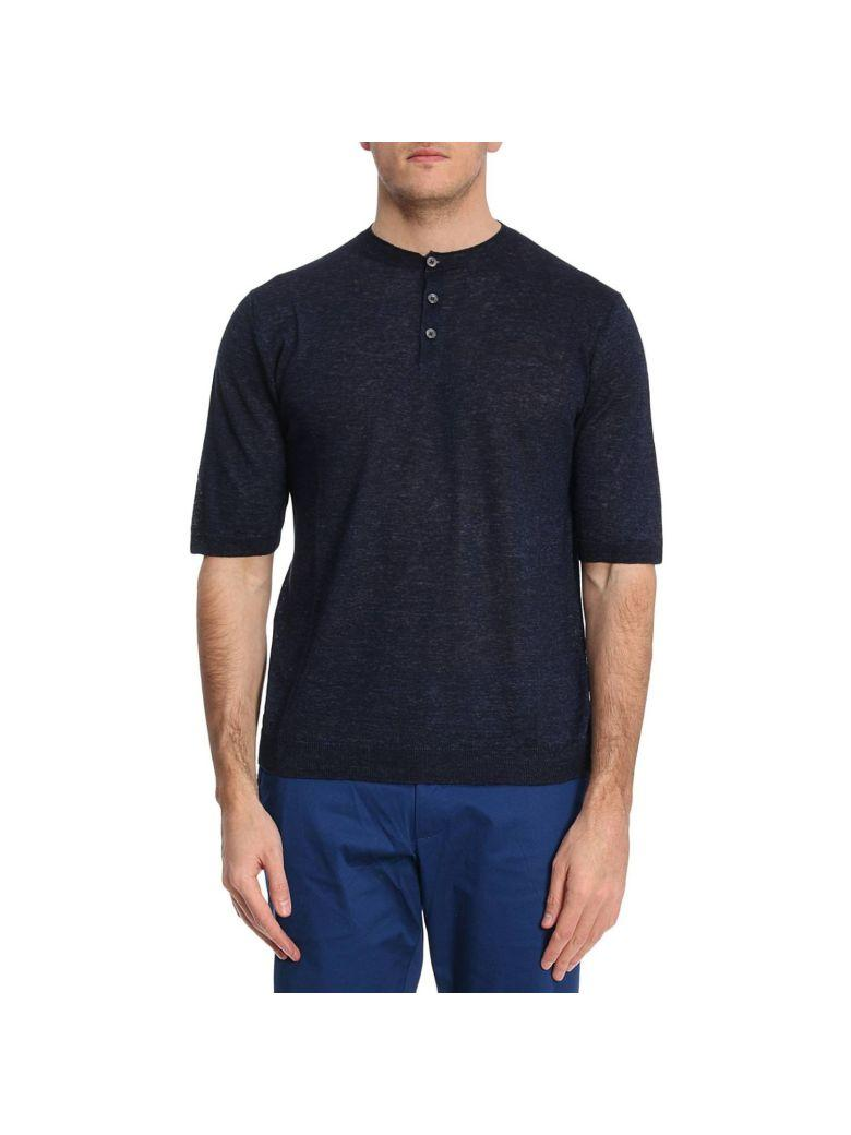 Eleventy Front Button T-shirt In Blue