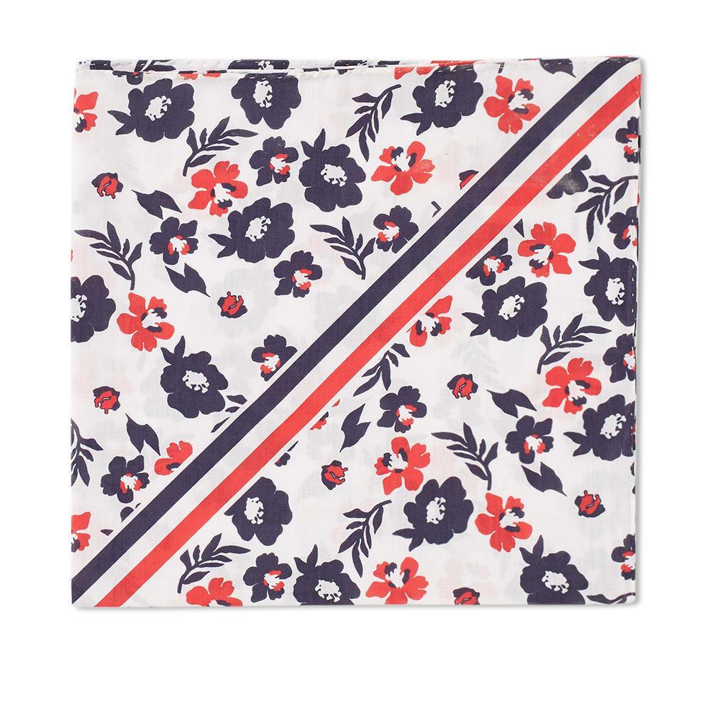 Thom Browne Diagonal Stripe Floral  Pocket Square In White