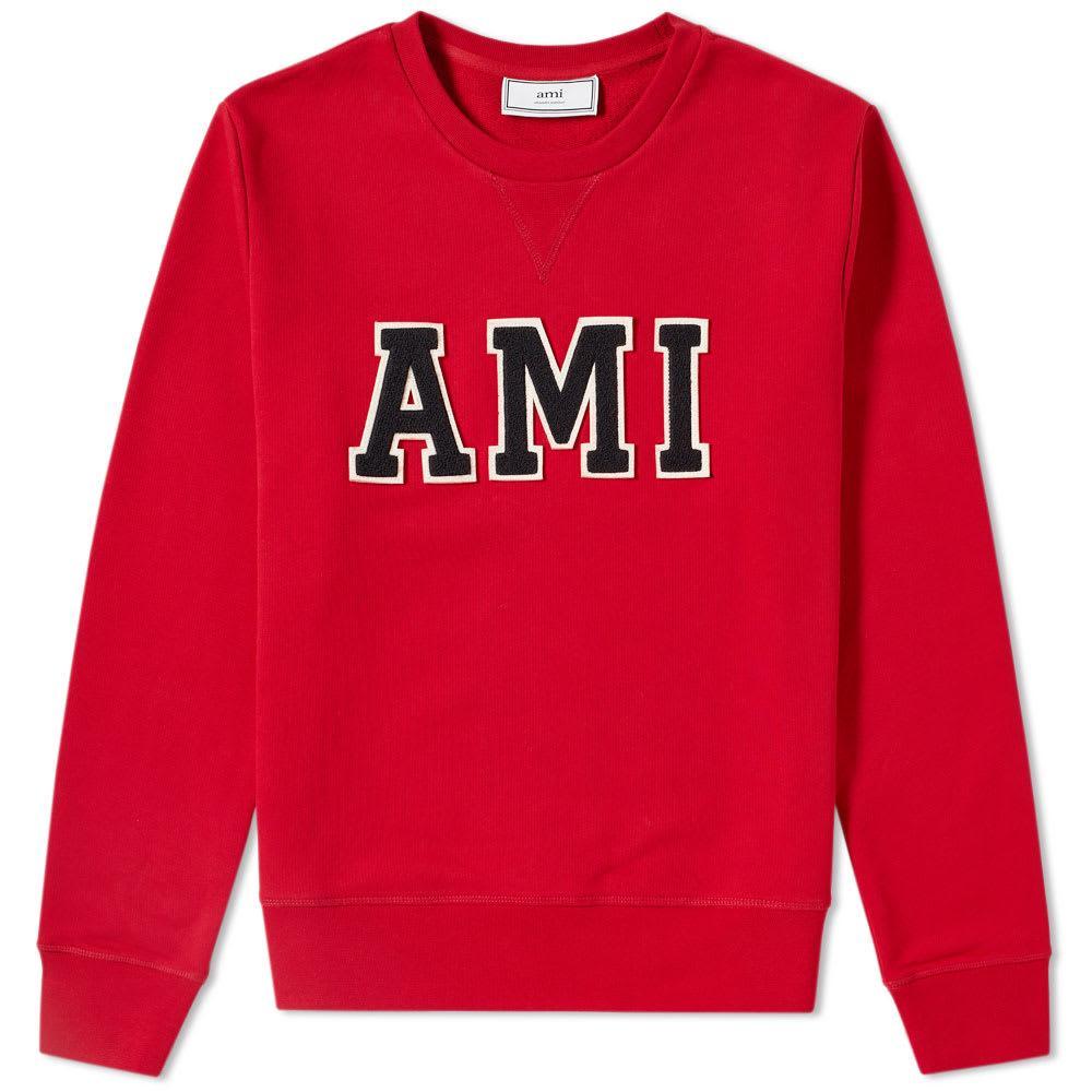 Ami Alexandre Mattiussi Ami Patch Logo Crew Sweat In Red
