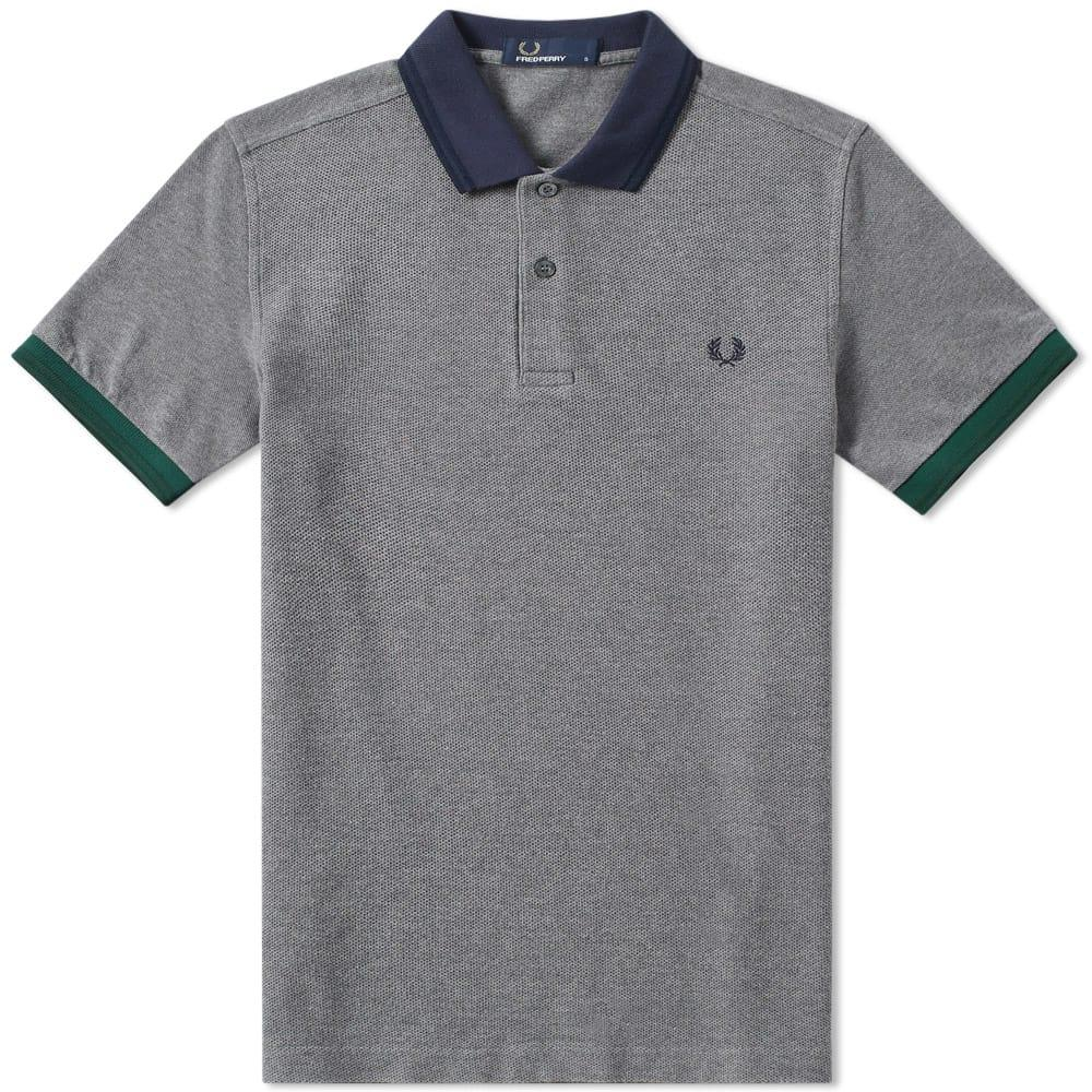 Fred Perry Colour Block Polo In Grey