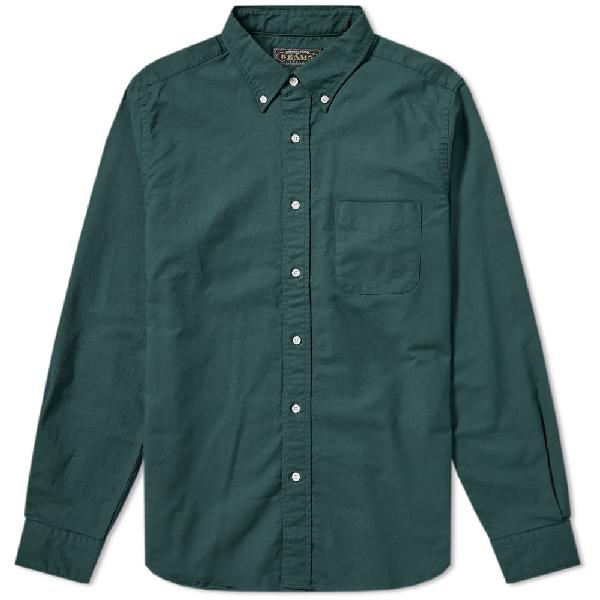 Beams Plus Button Down Oxford Shirt In Green