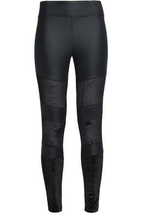 Yummie By Heather Thomson Woman Velvet-paneled Stretch Leggings Black