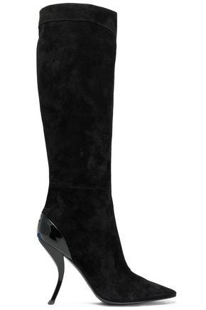 Roger Vivier Woman Patent Leather-Trimmed Suede Boots Black