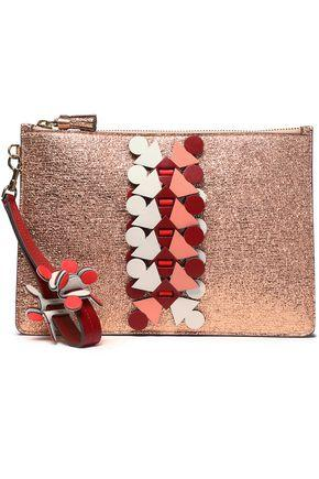 Anya Hindmarch Woman AppliquÉd Cracked-leather Pouch Rose Gold
