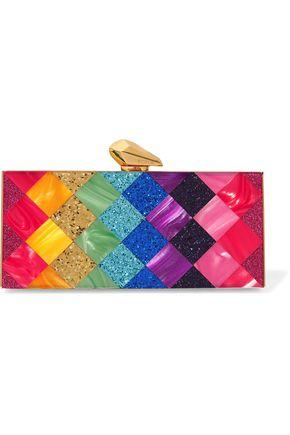 Kotur Woman Levin Glittered Marble-effect Perspex® Box Clutch Pink