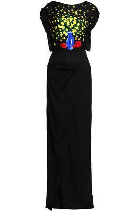 Vionnet Woman Printed Silk-satin Gown Black
