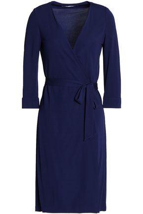 Diane Von Furstenberg Woman Wrap-effect Jersey Dress Navy In Midnight Blue