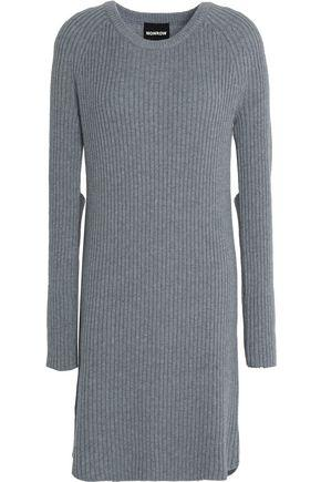 Monrow Woman Cutout Ribbed Wool And Cotton-blend Mini Dress Gray