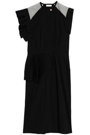 Vionnet Tulle-paneled Pleated Cotton-poplin Midi Dress In Black
