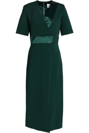 Dion Lee Woman Wrap-effect Satin-trimmed Crepe Dress Emerald