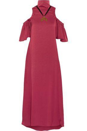 Ellery Woman Deity Cold-shoulder Embellished Crepe Maxi Dress Claret