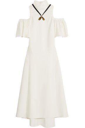 Ellery Woman Deity Cold-shoulder Embellished Crepe Maxi Dress Ivory