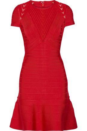 Herve Leger Woman Color-block Crepe De Chine Wrap Dress Red