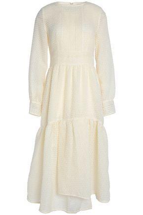 Goen J Woman Asymmetric AppliquÉd Organza Midi Dress Ivory