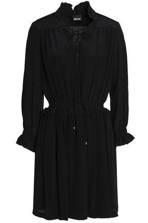 Just Cavalli Woman Pleated Silk Mini Dress Black