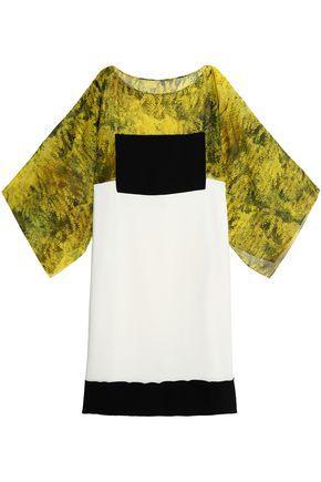 Vionnet Woman Draped Printed Silk Chiffon Blouse Yellow