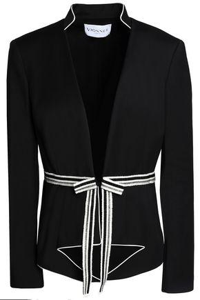 Vionnet Woman Metallic Grosgrain-trimmed Cotton-blend Jacket Black