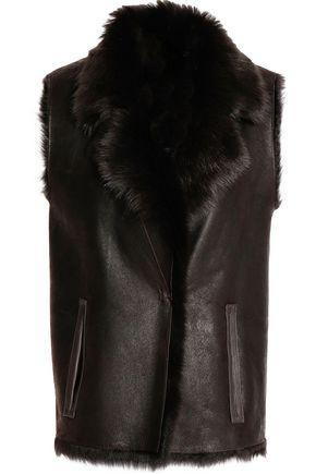 Yves Salomon Woman Reversible Shearling Vest Dark Brown