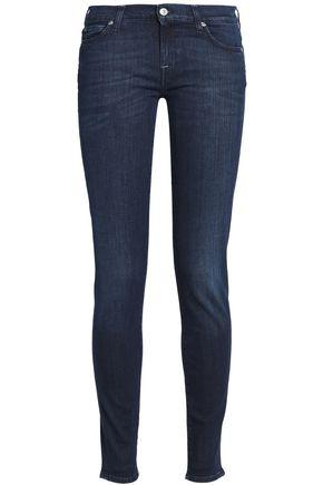 7 For All Mankind Woman Faded Low-rise Skinny Jeans Dark Denim