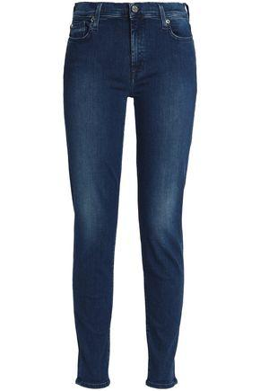 7 For All Mankind Woman Faded High-rise Skinny Jeans Dark Denim In Blue