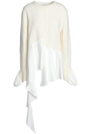 Goen J Woman Asymmetric Poplin-paneled Wool And Cashmere-blend Sweater Ivory